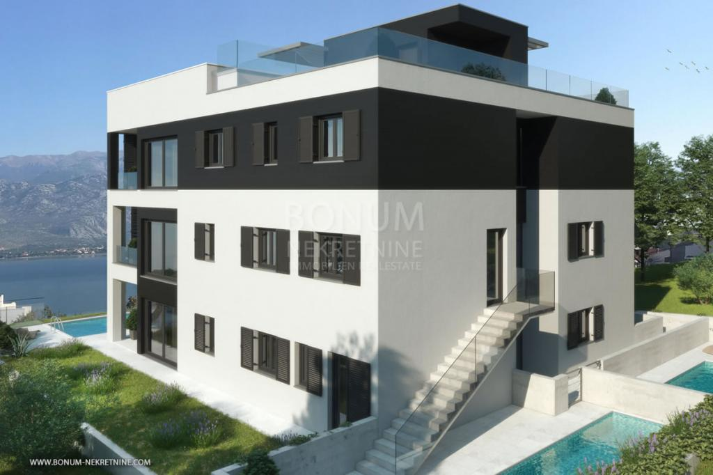 Luxury ground floor apartment with pool and beautiful sea view, Zadar, Croatia
