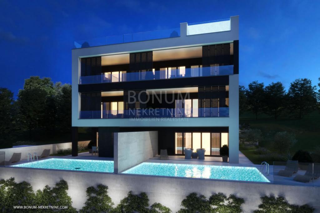 Luksuzno stanovanje v pritličju z bazenom in čudovitim pogledom na morje, Zadar, Hrvaška
