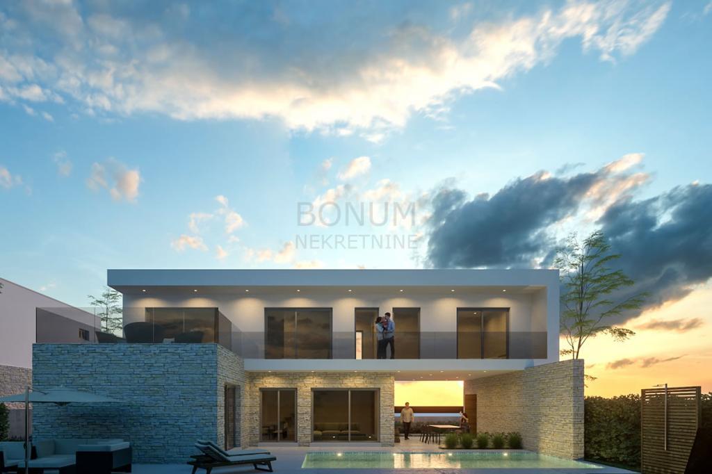 Vodice, luksuzna moderna vila s bazenom i lijepom okućnicom