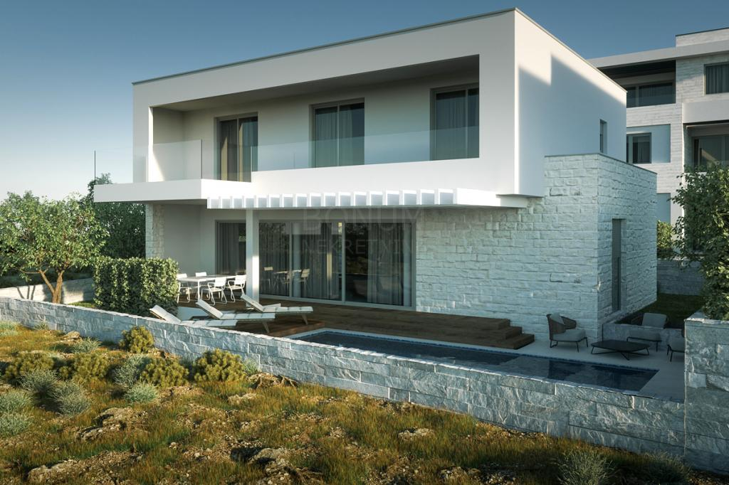 Ein neues modernes Haus mit einem Pool zum Verkauf, zweite Reihe zum Meer