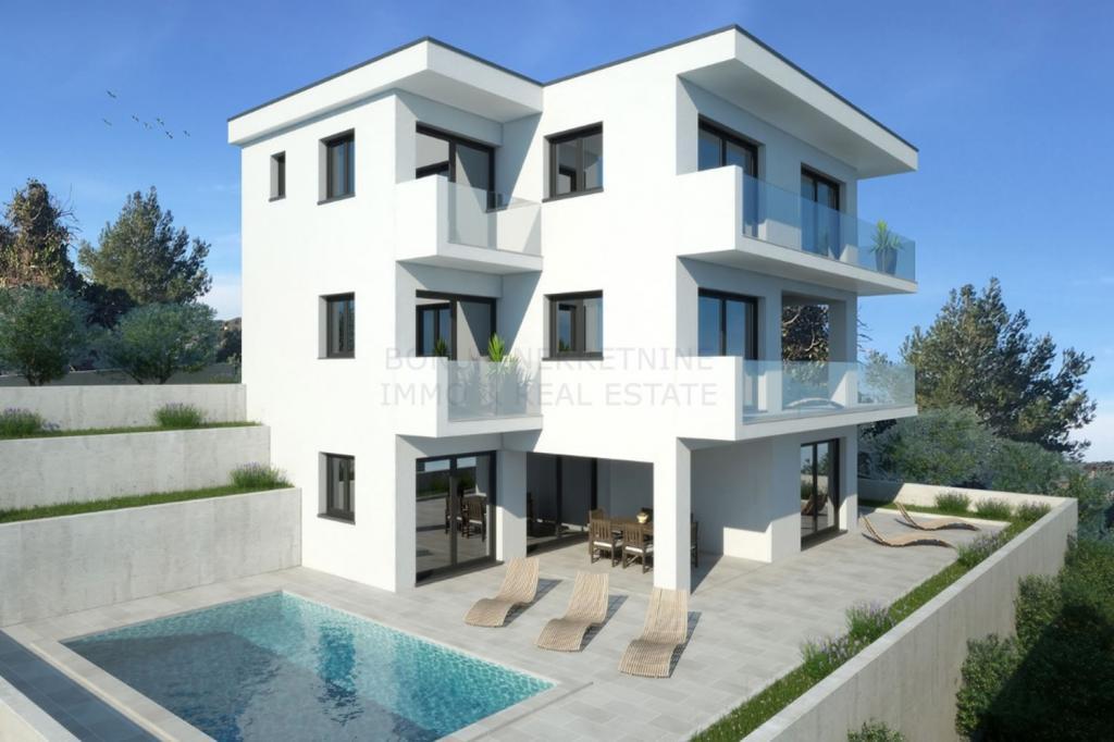 Moderna vila sa bazenom, drugi red do mora